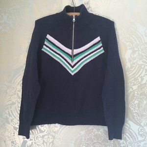 aerie 1/2 Zip Navy Blue Sweater with Front Pattern
